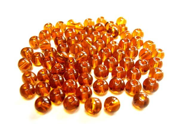 Round Glass Beads 4mm ~ Dark Topaz (Root Beer) per Strand