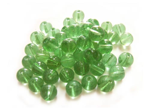 Round Glass Beads 6mm ~ Green per Strand
