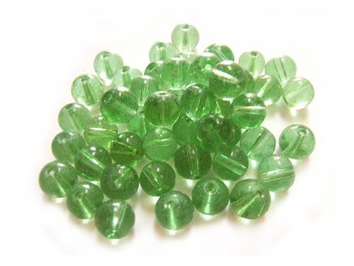 Round Glass Beads 6mm ~ Green per Strand