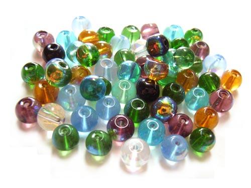 Round Glass Beads 6mm ~ Beach AB Soup Mix x50
