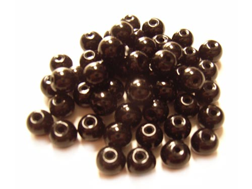 Round Glass Beads 6mm ~ Jet Black per Strand
