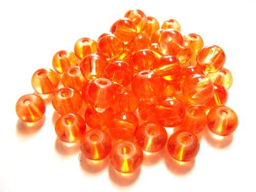 Round Glass Beads 6mm ~ Orange per Strand