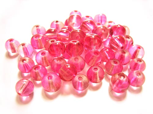 Round Glass Beads 6mm ~ Pink per Strand