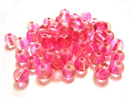 Round Glass Beads 6mm ~ Pink per Strand
