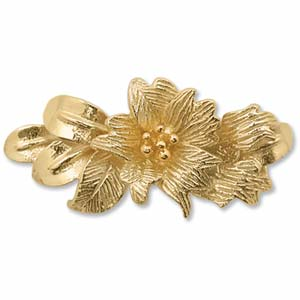 24kt Gold Plated Sterling - Vermeil FLower 16x13mm Slider Connector x1