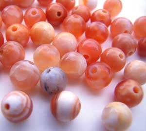 Fire Agate ~ 4mm Round Gemstone Beads x10