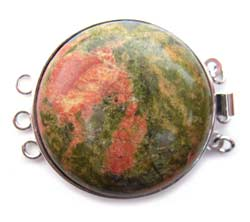 Unakite Gemstone Large Focal Clasp - 3 strand