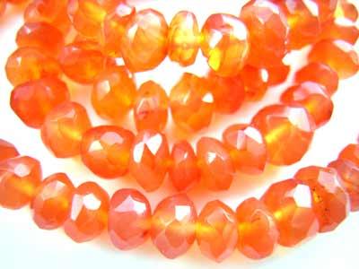 Carnelian ~ Faceted Roundel ~ Gemstone Beads 4 -4.5mm per half strand