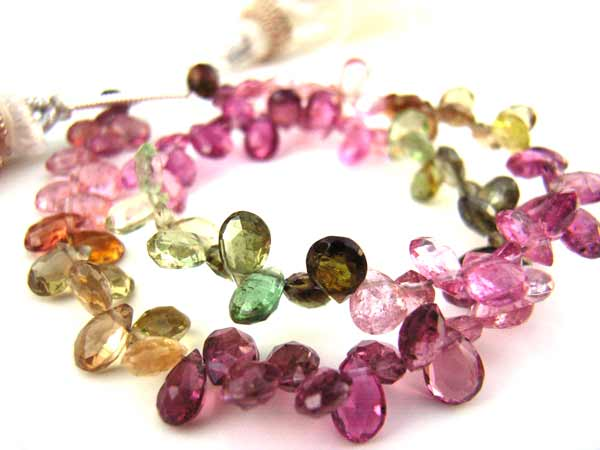 Multi-Tourmaline 4 -4.5mm Heart Shape Briolette Gemstone Beads per half layout