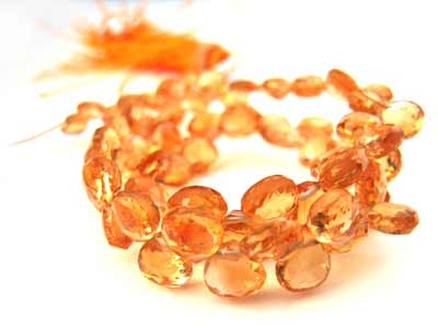 Citrine ~ Heart Shape Briolette ~ Gemstone Beads 4 -5mm per half layout