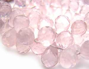 Rose Quartz 6 -7mm Briolette Drops Gemstone Beads per half layout