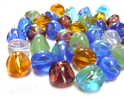 Transparent Glass Beads 10x8.5mm Nugget - Soup Mix x28 beads