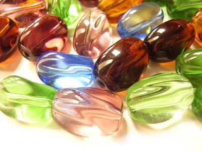Transparent Glass Beads 12x8.5x8mm Twist Nugget - Soup Mix x28 beads