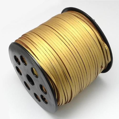 Faux Leather Leatherette Flat Cord 2.7-3mm Gold per metre