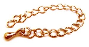 Gold Plated 83mm Necklace Extender - Extension Chains with drop x4