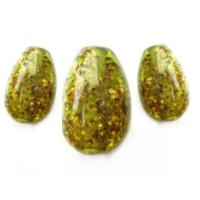 Green Glitter Flakes Eggs Set of 3 Artisan Glass Lampwork Beads