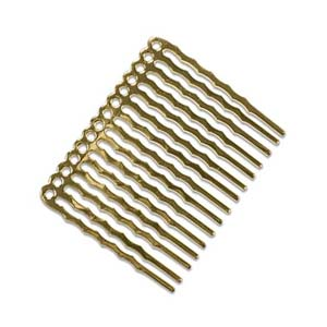 Hair Comb 44x36mm Gold Plated x2