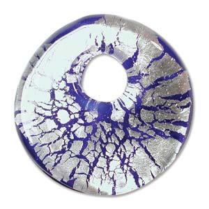 Beadsmith, Glass Wavy Foil Donut Pendant 38x38mm, Cobalt Blue
