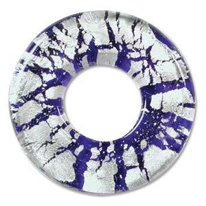 Beadsmith, Glass Foil Donut Pendant 41x41mm, Cobalt Blue