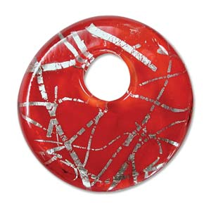 Beadsmith, Glass Wavy Squiggle Foil Donut Pendant 39x39mm, Red