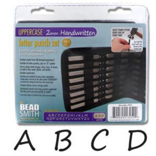 Beadsmith Handwritten 2mm Alphabet Upper Case Letter Stamping Set