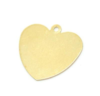 Brass Heart 24g Stamping Blank 18x18mm Pendant x1