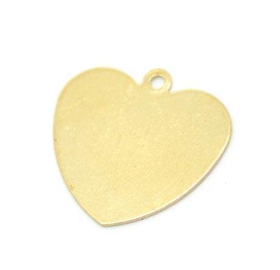 Brass Heart 24ga Stamping Blank 18x18mm Pendant x1