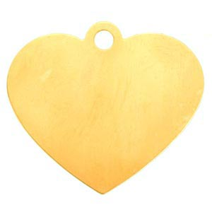 """Brass Large Heart 24g Stamping Blank 2"""" 48x42mm Pendant"""