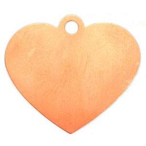 Copper Metal Stamping Blank, Large Heart (2 inch) 48x42mm Pendant 24ga x1