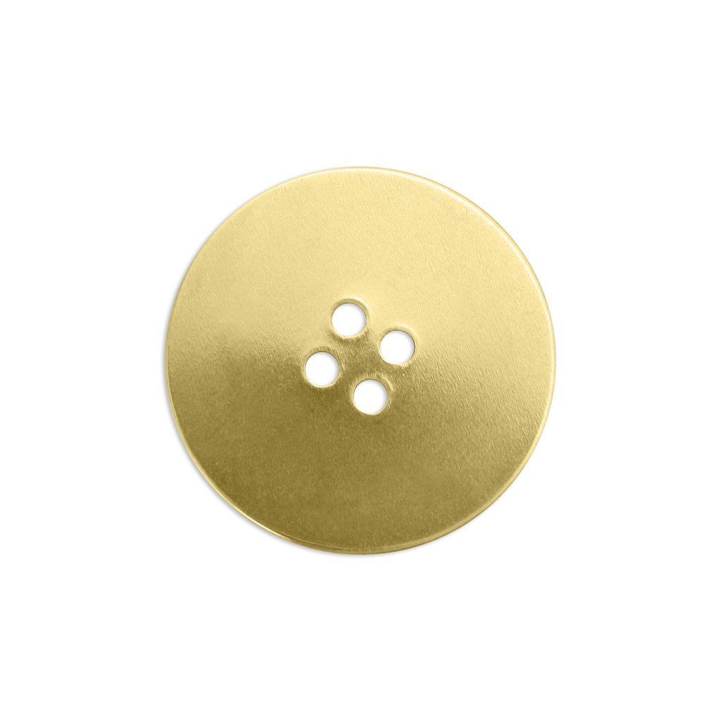 Brass Button, 24mm 24ga Metal Stamping Blank x1
