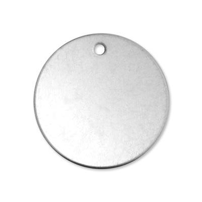 Alkemé Silver Soft Strike Circle 30.5mm 1 1/4 inch 18ga Metal Stamping Blank w/Hole x1