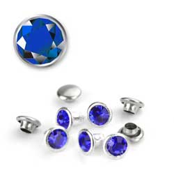 Snap Rivet 6mm Czech Crystal Sapphire x1 (September)
