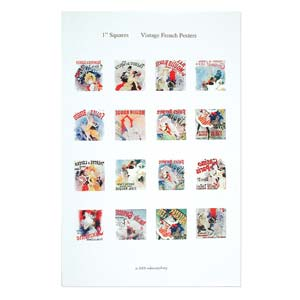 ITS Collage Sheet - Pre-Printed Images for Transfer - 24x24mm French Posters