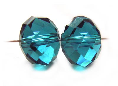 Imperial Crystal Roundelle Beads 12x9mm Indicolite x20