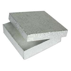 "Jewellery Gift Boxes - Silver Foil 3.5x3.5x1"" - 90x90x26mm"