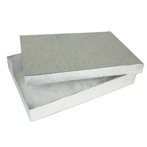 "Jewellery Gift Boxes - Silver Foil 7x5.5x1"" - 18x13x2.5mm"