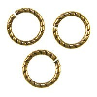 Trinity Brass Antique Gold Jump Ring 9mm Etched x1