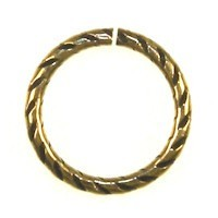 Trinity Brass Antique Gold Jump Ring 16mm Etched x1