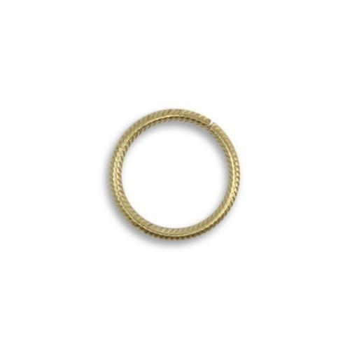 Vintaj Vogue Solid Brass 15.25mm 15ga Rib Cable Jump Ring x1 (Open)