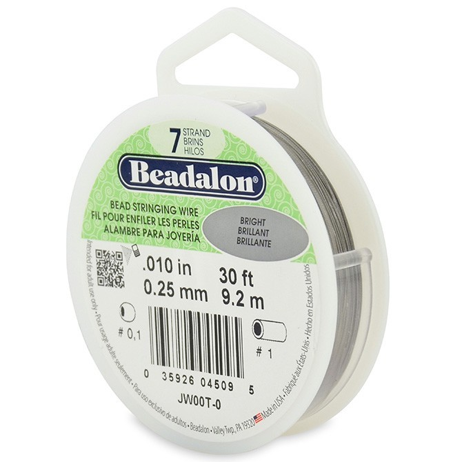 Beadalon Stringing Wire 7 Strands .010 (.25mm) 30 ft/9.2m Bright