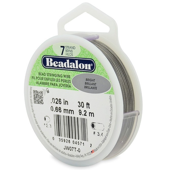 Beadalon Stringing Wire 7 Strands .026 (.66mm) 30 ft/9.2m Bright
