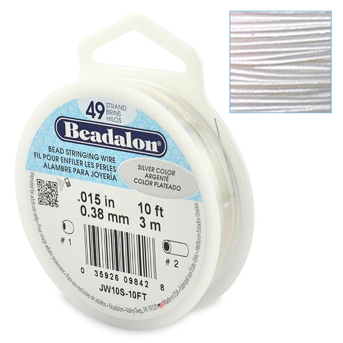 Beadalon Stringing Wire 49 Strands .015 (.38mm) Metallic Silver Colour