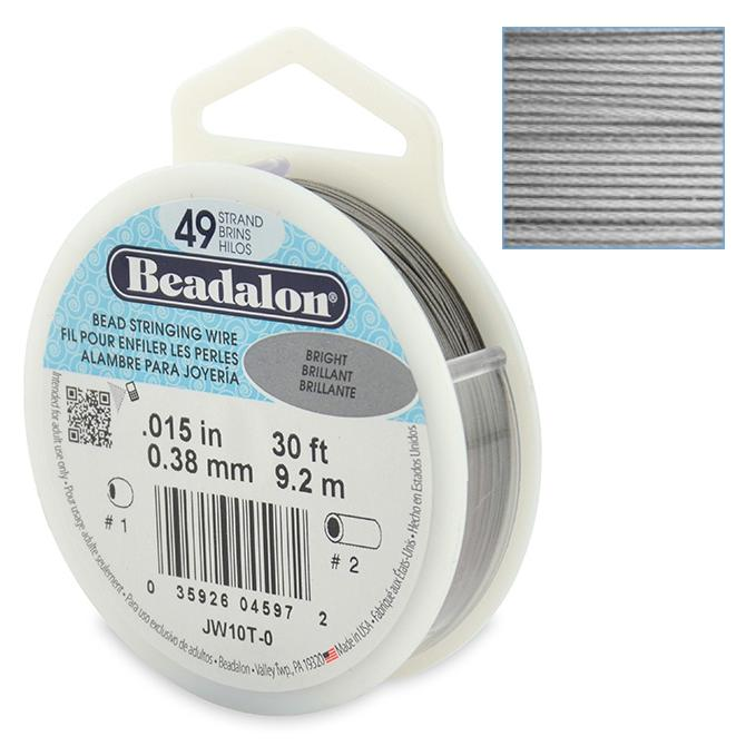 Beadalon Stringing Wire 49 Strands .015 (.38mm) 30 ft/9.2m Bright