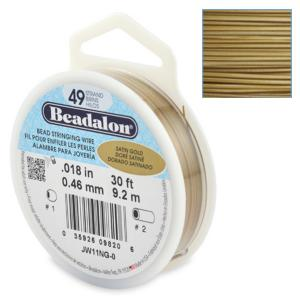 Beadalon Stringing Wire 49 Strands .018 (.46mm) Satin Gold (30ft, 9.2m)