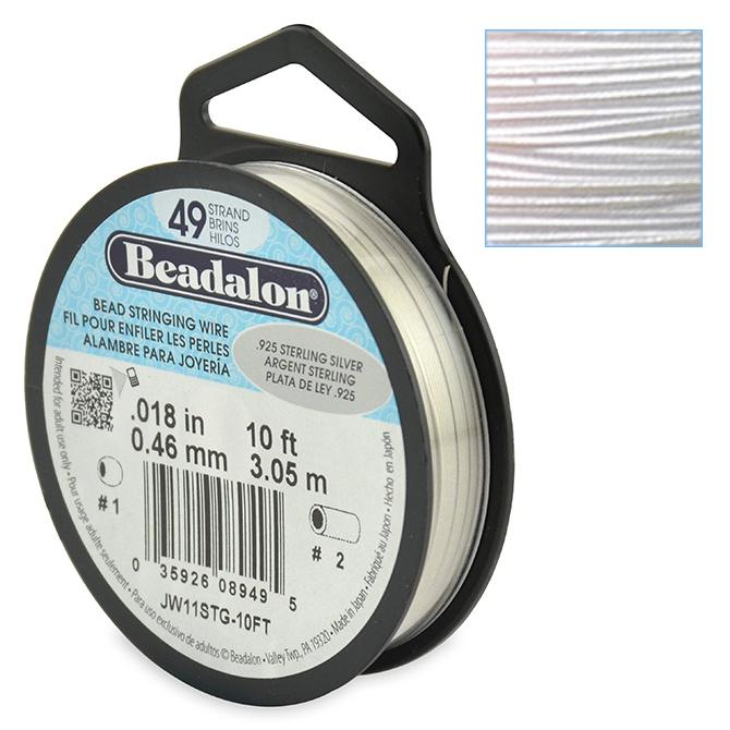 Beadalon Stringing Wire 49 Strands .018 (.46mm) 10 ft/3.05m .925 Sterling Silver