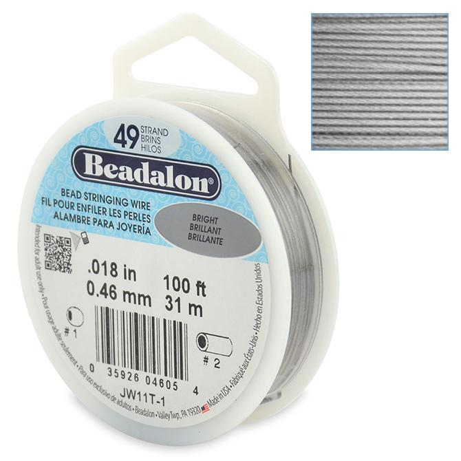 Beadalon Stringing Wire 49 Strands .018 (.46mm) 100 ft/31m Bright