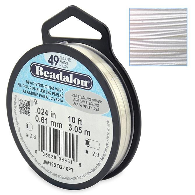 Beadalon Stringing Wire 49 Strands .024 (.61mm) 10 ft/3.05m .925 Sterling Silver