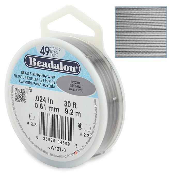 Beadalon Stringing Wire 49 Strands .024 (.61mm) 30 ft/9.2m Bright