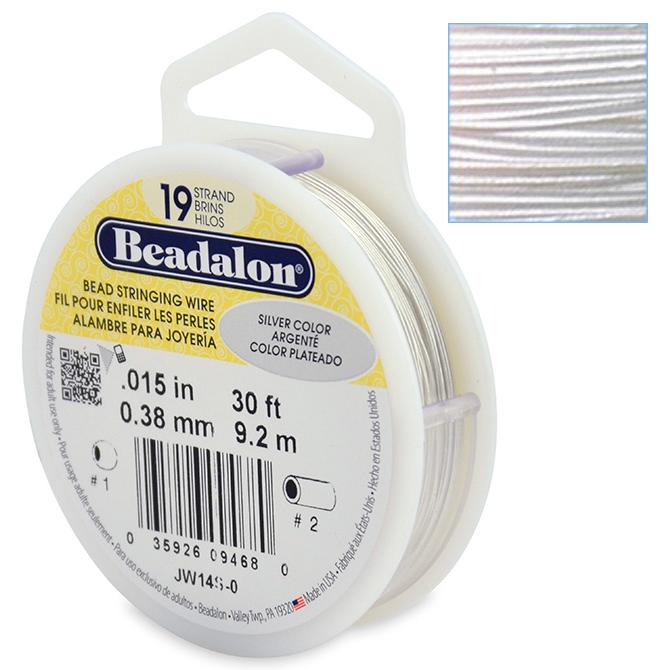 Beadalon Stringing Wire 19 Strands .015 (.38mm) 30 ft/9.2m Silver Metallic Colour