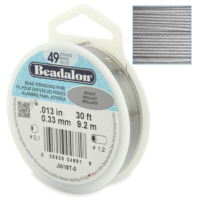 Beadalon Stringing Wire 49 Strands .013 (.33mm) 30 ft/9.2m Bright